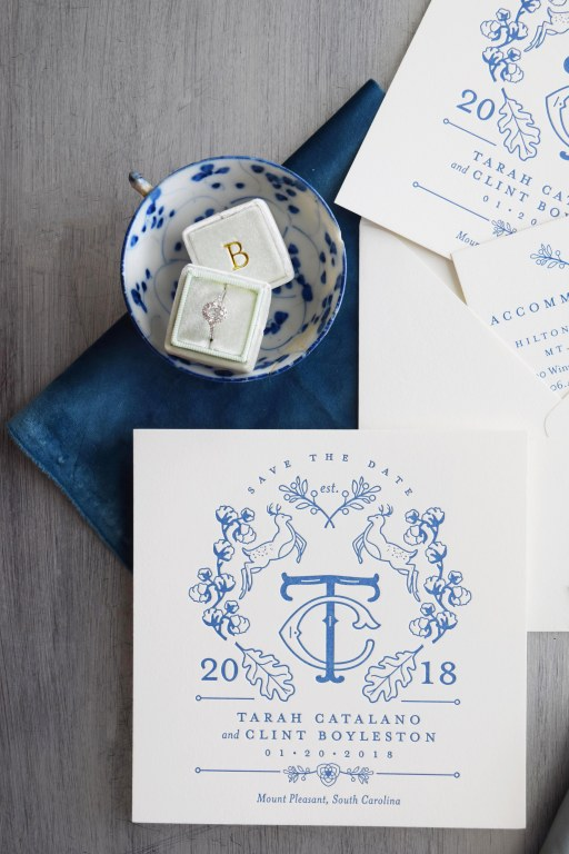 Letterpress Save the Dates with Custom Crest