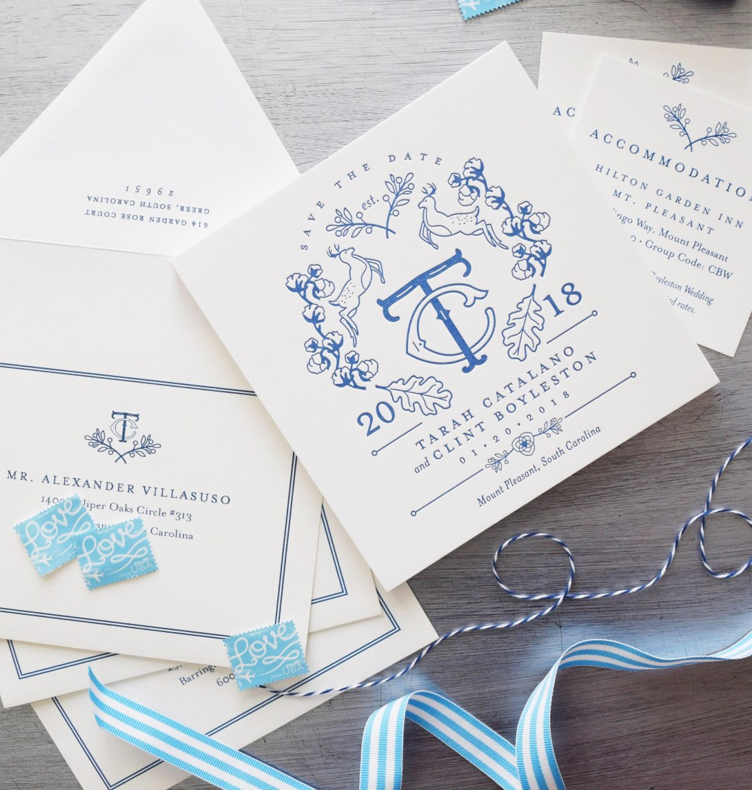 Letterpress Save the Dates with Custom Crest and Monogram